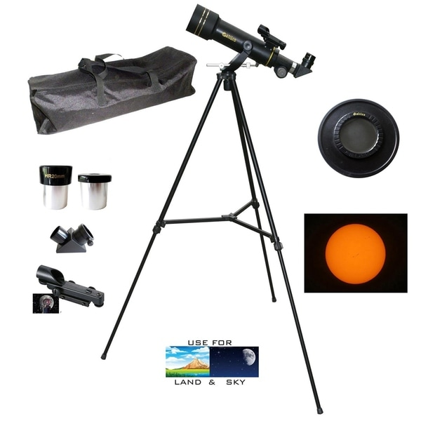 Galileo 300 x 60mm Day/Night Telescope w/Backpack and Solar Filter Cap. Opens flyout.