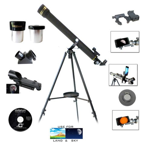 Galileo 800mm x 60mm Telescope w/Smartphone Adapter and Solar Filter