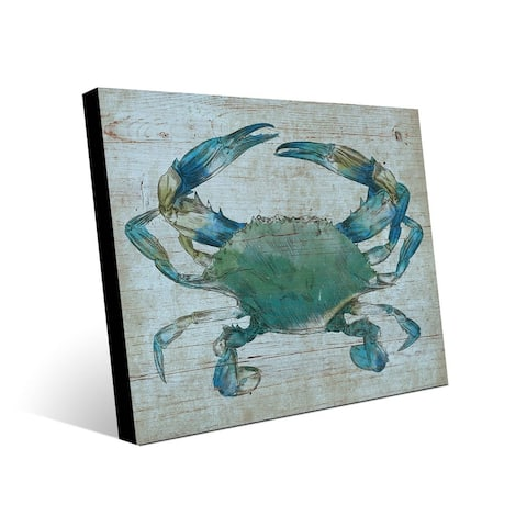 Kathy Ireland Turquoise Blue Crab Nautical on Metal Wall Art Print