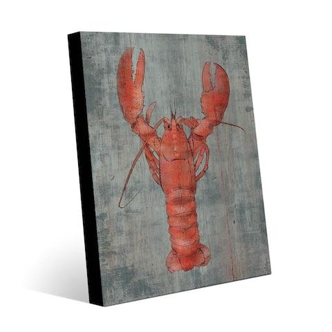 Kathy Ireland Lobster in Red on Slate Blue Nautical on Metal Wall Art Print