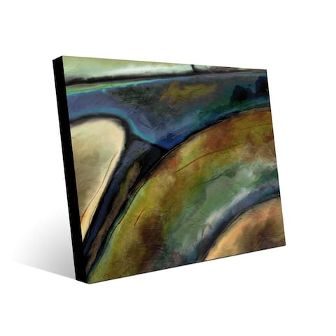 Kathy Ireland Machina in Navy & Brown Abstract on Metal Wall Art Print