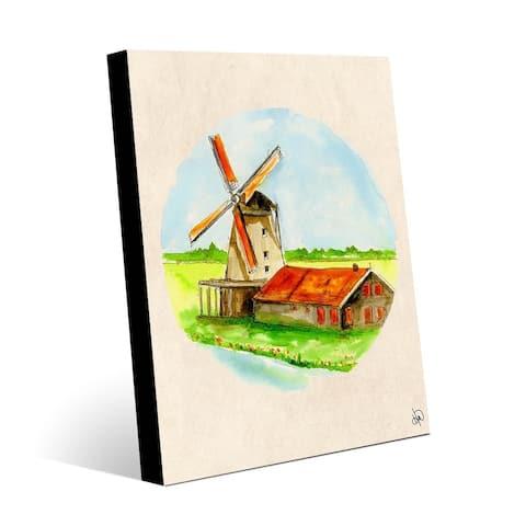 Kathy Ireland Windmill in Holland Vignette on Metal Wall Art Print