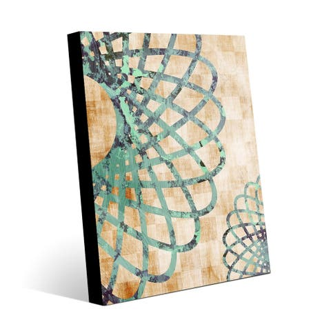 Kathy Ireland Flower Wheel in Teal & Green Abstract on Metal Wall Art Print