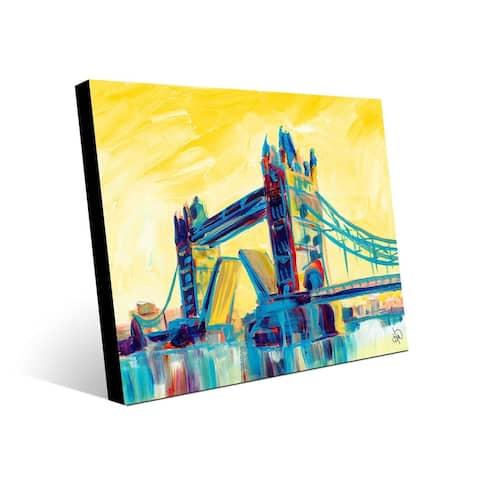 Kathy Ireland Tower Bridge in London on Yellow on Metal Wall Art Print