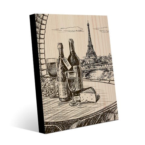 Kathy Ireland Paris View with Wine & Cheese Drawing on Metal Wall Art Print