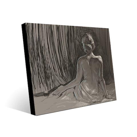 Kathy Ireland Back of Nude Sketch on Gray on Metal Wall Art Print