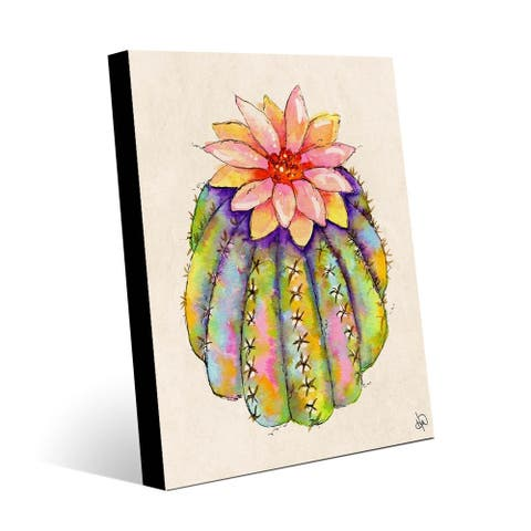 Kathy Ireland Lush Colorful Cactus Abstract on Metal Wall Art Print