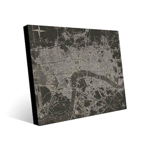 Kathy Ireland The River Thames Map on Metal Wall Art Print