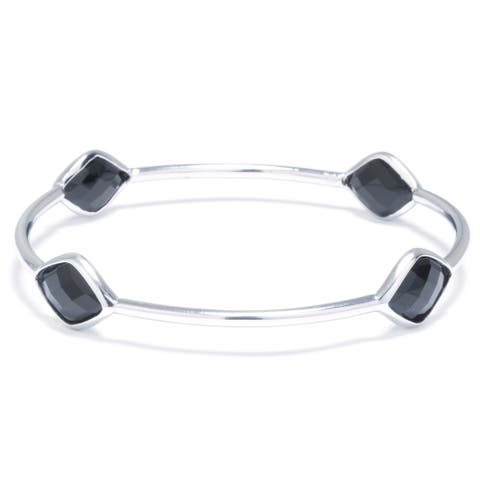 Sterling Silver Bangle Bracelet with Onyx Stations