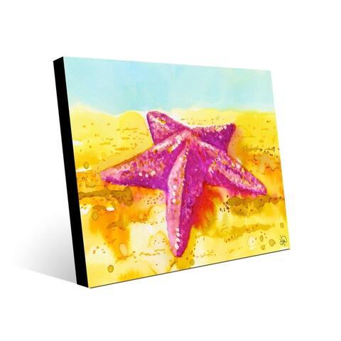 Kathy Ireland Beached Starfish in Pink on Yellow Nautical on Acrylic Wall Art Print