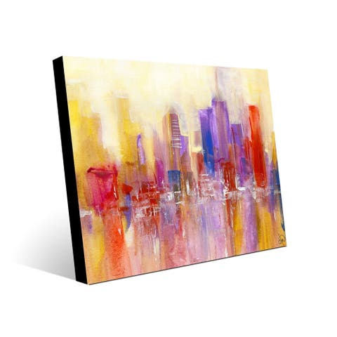 Kathy Ireland Wet Winter Day in Yellow & Red Abstract on Acrylic Wall Art Print