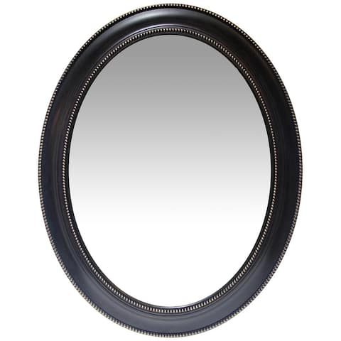 Sonore 30 x 24 in Large Oval Accented Decorative Wall Mirror - Black and Gold