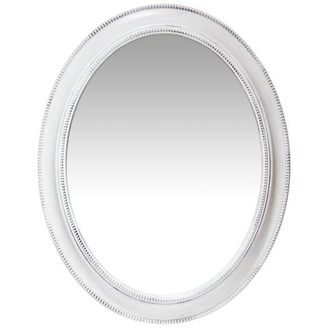 Sonore 30 x 24 in Large Oval Accented Decorative Wall Mirror - White