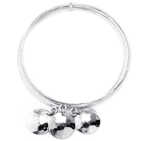 Sterling Silver hammered drop charm bangle bracelet