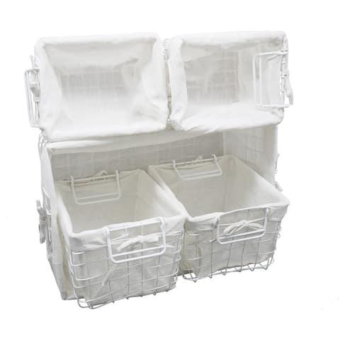 Vintage Baskets for Storage White Cotton Liner, Assorted Set of 5