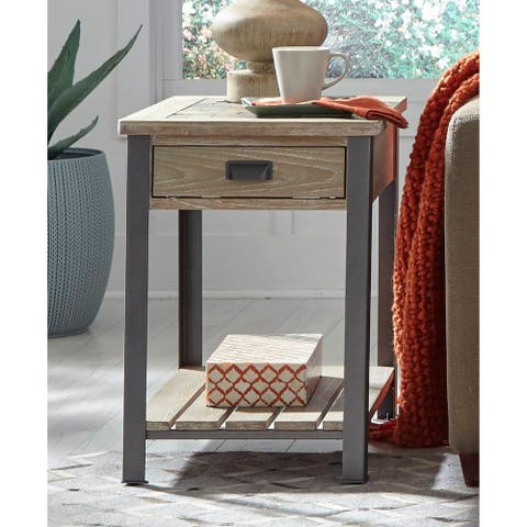 Wood Slate-top End Table