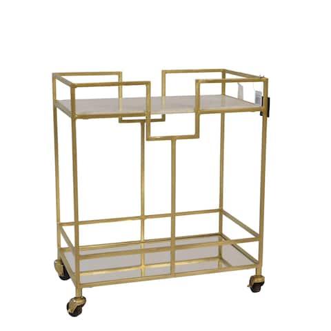 "Metal 28"" Bar Cart W/Marble Top, Gold"