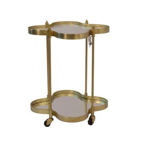 "Metal 30"" Clover Bar Cart W/ Marble Top, Gold, Kd"