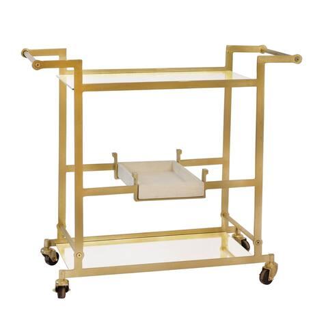 """Metal 34"""" Bar Cart W/Mirrored Shelves, Gold. Kd"""