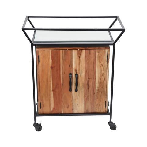 """Metal/Wood 33""""H 2-Door Bar Cart W/ Mirror, Brown"""