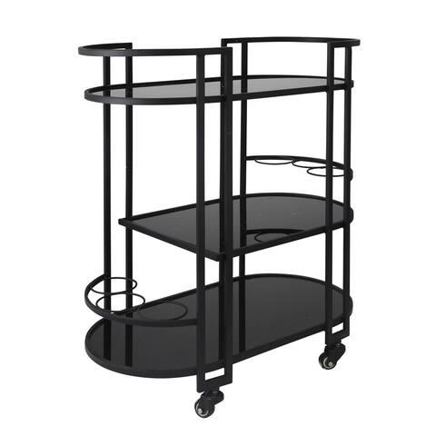 "Metal 3 Tier 32"" Bar Cart, Black"