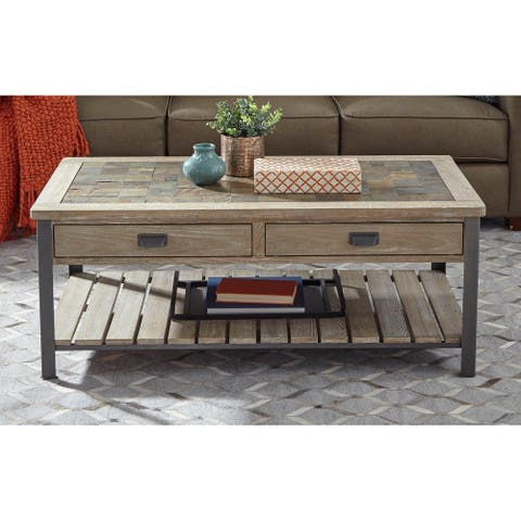 Wood Large Slate-top Cocktail Table