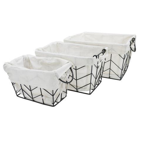Metal Wire, Rectangular Baskets - 3-Piece Set of Nesting - 1 Small, 1 Medium, 1 Large
