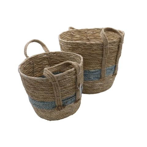 Set of 2 Nesting Basket Seagrass Design for Blankets Toys with Handle Storage Bins. Natural Color with Blue tone
