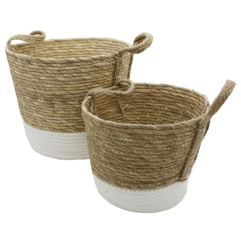 Set of 2 Nesting Basket seagrass design for Blankets Toys with Handle Storage Bins. Natural Color with White tone