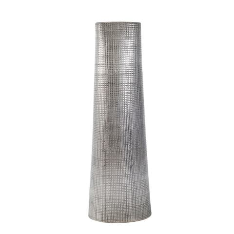 "Ceramic 24"" Cone Vase, Silver"