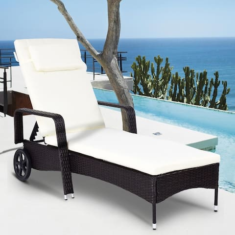 Adjustable Patio Lounge Outdoor Rattan Cushioned Chaise Recliner