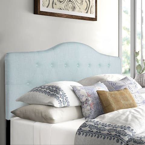 Adeco Camelback Tufted Upholstered Headboard, Queen Size, Light Blue