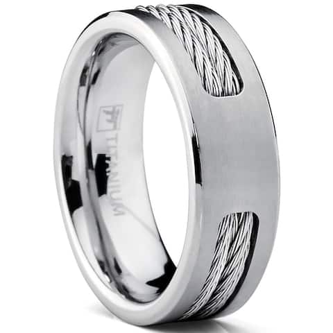 Oliveti Men's 7 MM Titanium ring Wedding band with Stainless steel Cable Inlay sizes 7 to 12
