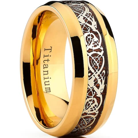 Oliveti Men's 9MM Goldtone Titanium Ring Band with Dragon Design Over Real Wood Inlay, Comfort Fit Sizes 7 to 15