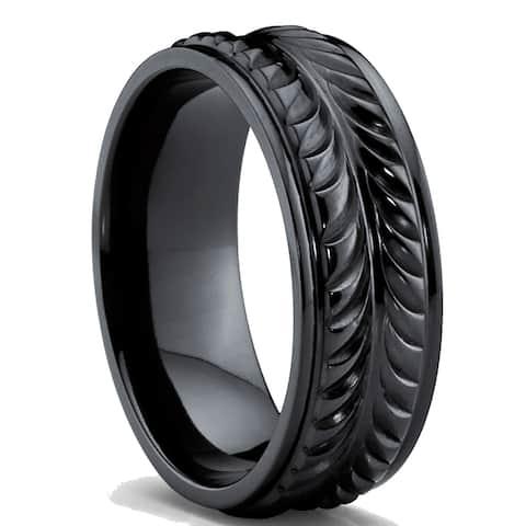 Oliveti Men's Black Titanium Black Cubic Zirconia Comfort Fit Eternity Ring