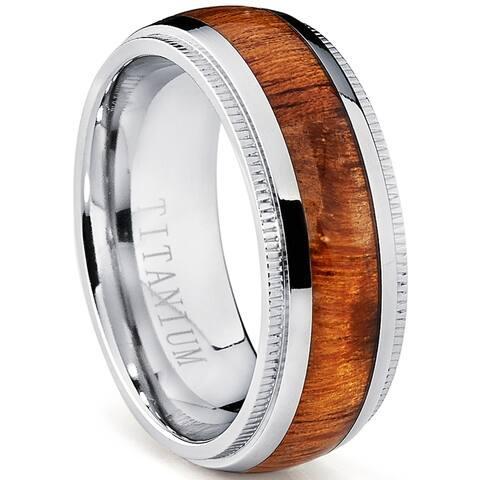 Oliveti Men's Black Plated Titanium Black Cubic Zirconia Comfort Fit Ring (8 mm)