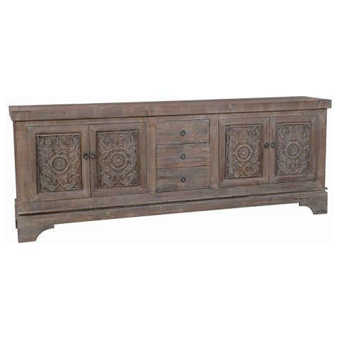 Engraved Reclaimed Wood Sideboard with 3 Drawers and 4 Doors, Brown