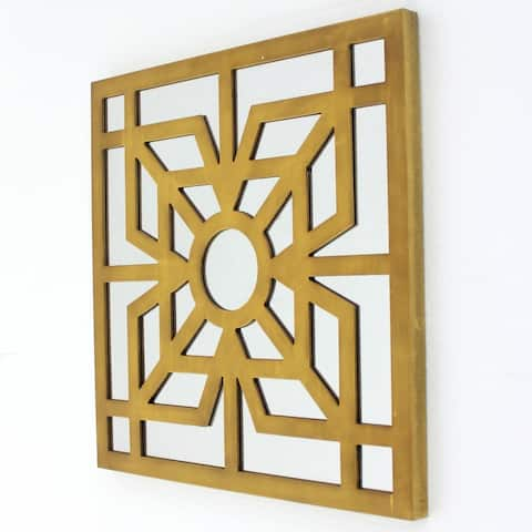 Mirrored Wall Decor with Wooden Floral Overlay on Top, Gold and Silver