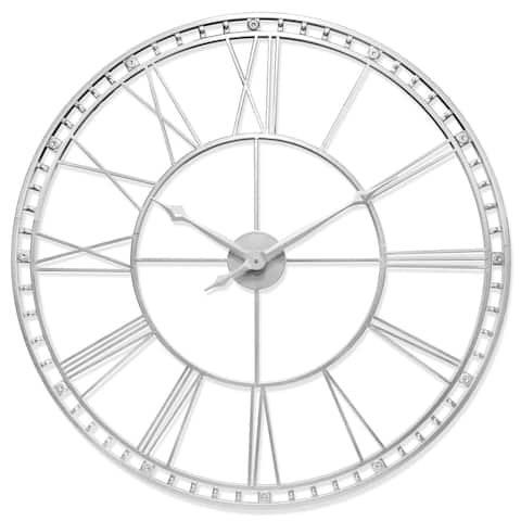 The Tower XXL Large Open Face Metal Wall Clock 39 inch - Antique Silver