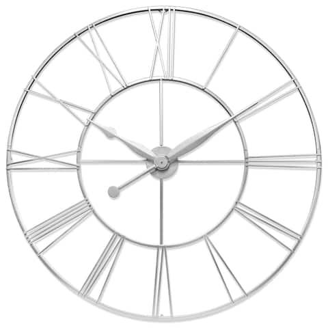 Skyscraper XXL 45 inch Large Decorative Open Face Roman Numeral Wall Clock - Antique Silver