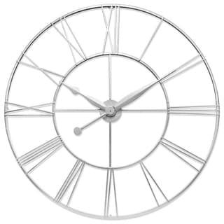 Link to Skyscraper XXL 45 inch Large Decorative Open Face Roman Numeral Wall Clock - Antique Silver Similar Items in Decorative Accessories