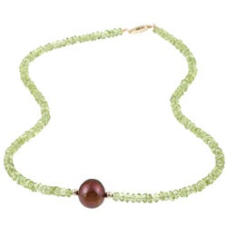 DaVonna 14k Gold Green Peridot and Brown FW Pearl Necklace (11-12 mm)