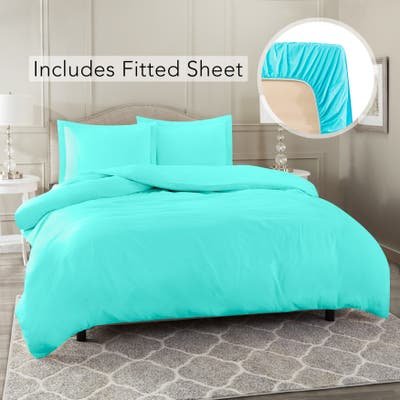 Nestl Ultra Soft Microfiber Duvet Cover with Fitted Sheet Set