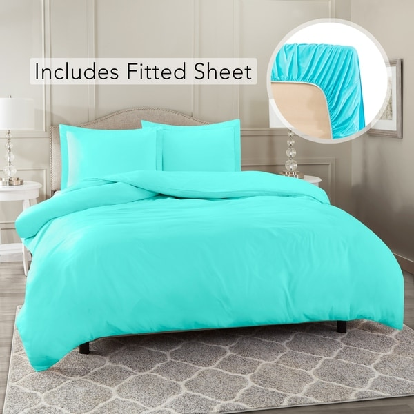 Nestl Bedding Ultra Soft Microfiber Duvet Cover with Fitted Sheet Set. Opens flyout.