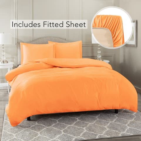 Nestl Bedding Ultra Soft Microfiber Duvet Cover with Fitted Sheet Set