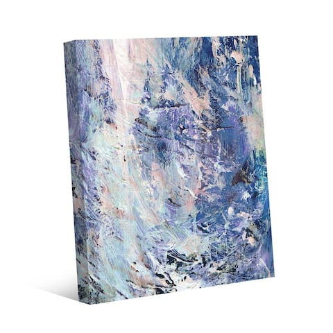 Kathy Ireland Wild Waterfall in Blue Abstract on Gallery Wrapped Canvas Wall Art Print