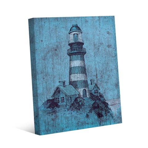 Kathy Ireland Light House on Blue Grunge Nautical on Gallery Wrapped Canvas Wall Art Print