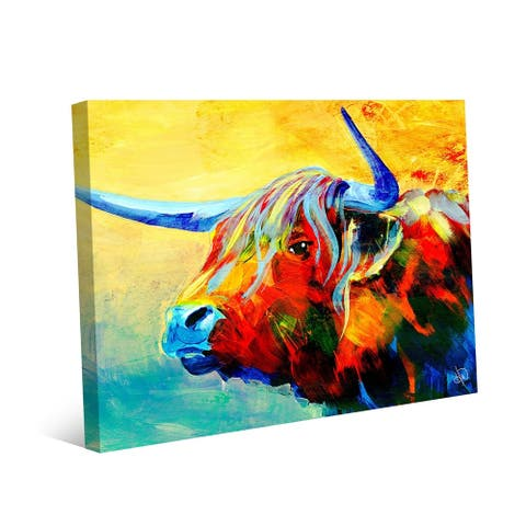 Kathy Ireland Yansa Colorful Yak Abstract on Gallery Wrapped Canvas Wall Art Print