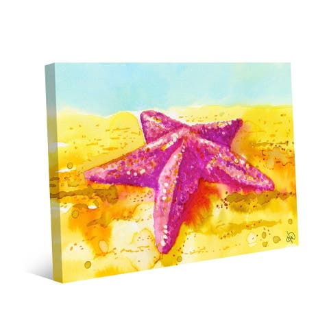 Kathy Ireland Beached Starfish in Pink on Yellow Nautical on Gallery Wrapped Canvas Wall Art Print