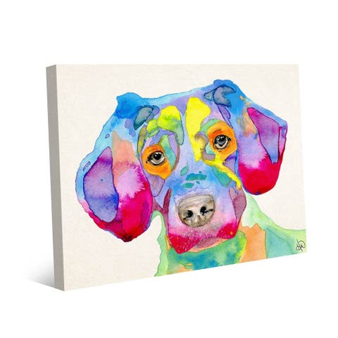 Kathy Ireland Becky Colorful Puppy Watercolor on Gallery Wrapped Canvas Wall Art Print